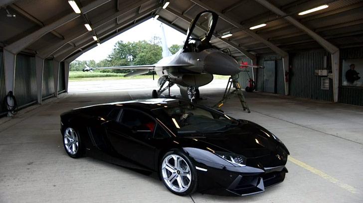 Lamborghini Aventador. Vs F-16 Fighting Falcon - crankandpiston.com