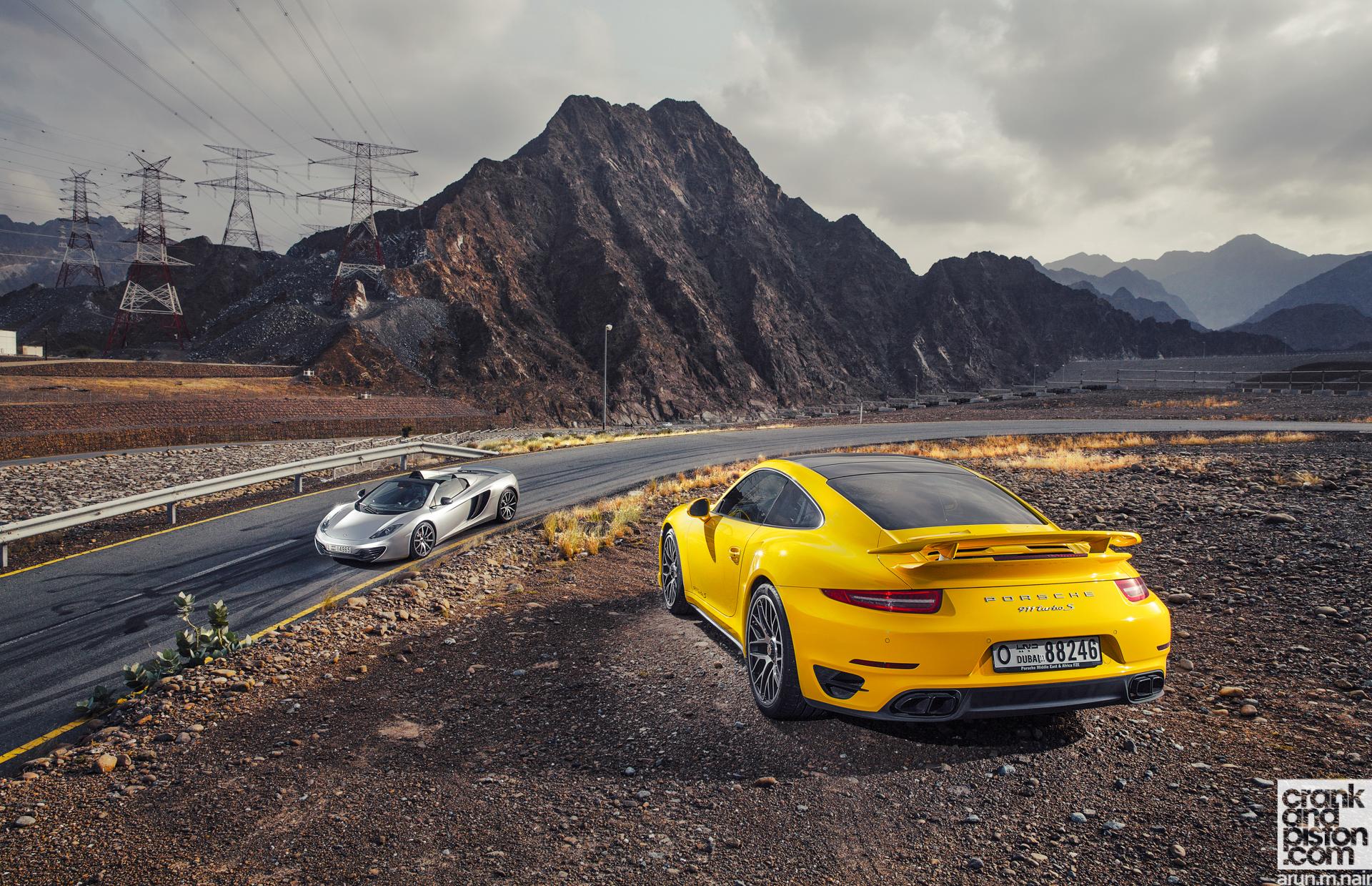porsche 911 turbo s v mclaren 12c spider 2 crankandpistoncom - 2015 Porsche 911 Turbo Wallpaper