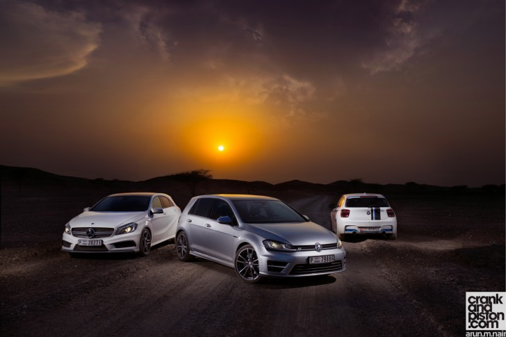 BMW M135i vs Mercedes-Benz A 45 AMG vs Volkswagen Golf R Wallpapers-08