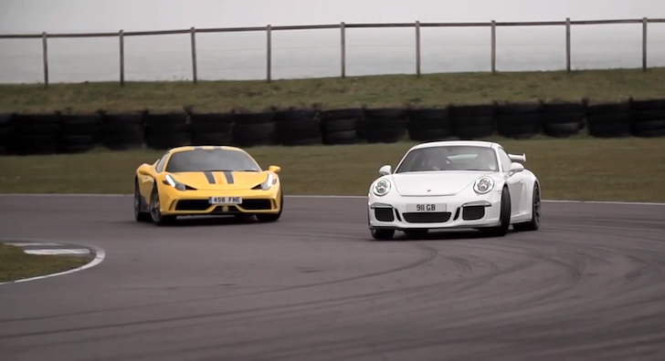 Ferrari 458 Speciale Porsche 911 GT3 Chris Harris on Cars Anglesey Circuit 02