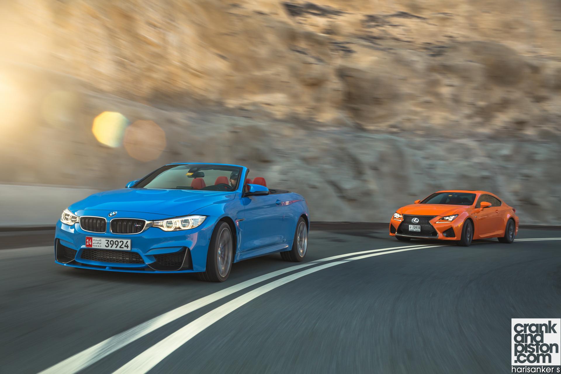 BMW M4 Convertible vs Lexus RC F crankandpiston Wallpapers-04