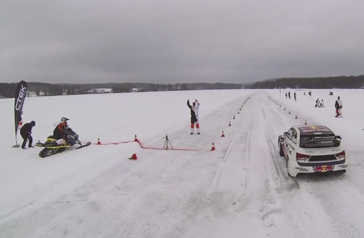Drag race  Snowmobile v Rallycross Car on Ice - crankandpiston com