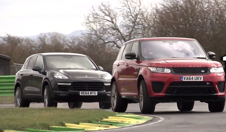 VIDEO. Range Rover Sport SVR v Porsche Cayenne Turbo. Track Battle