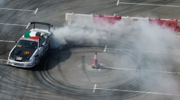 Competitor performs during Red Bull Car Park Drift at Ice Land in Ras Al Khaimah, United Arab Emirates on April 10th, 2015  // Naim Chidiac/Red Bull Content Pool // P-20150411-00310 // Usage for editorial use only // Please go to www.redbullcontentpool.com for further information. //