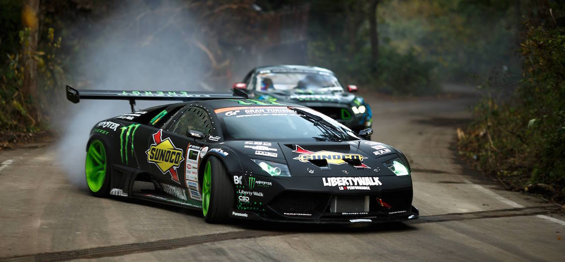 Battledrift 650hp Lamborghini Murcielago Vs 550hp Ford