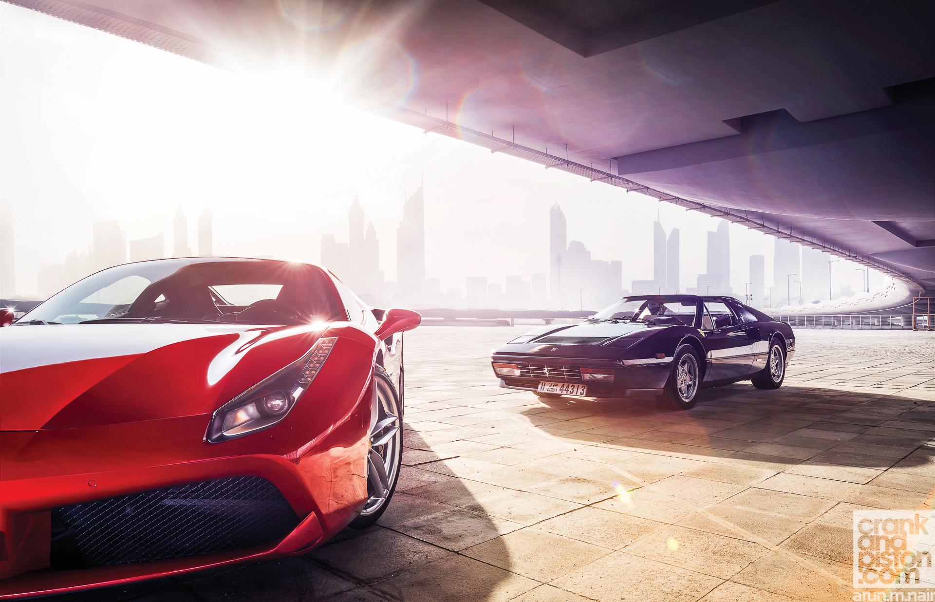 Ferrari 488 GTB meets Ferrari 328 GTS WALLPAPERS crankandpiston-2