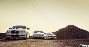 BMW M135i vs Mercedes-Benz A 45 AMG vs Volkswagen Golf R