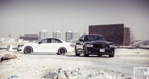 Mercedes-Benz C63 AMG vs Dodge Charger SRT. Dubai, UAE