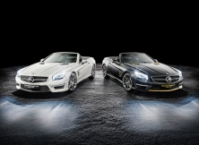 Mercedes-AMG SL 63 World Championship 2014 Collector's Edition, Lewis Hamilton Black Model. Mercedes-AMG SL 63 World Championship 2014 Collector's Edition, Nico Rosberg White Model.