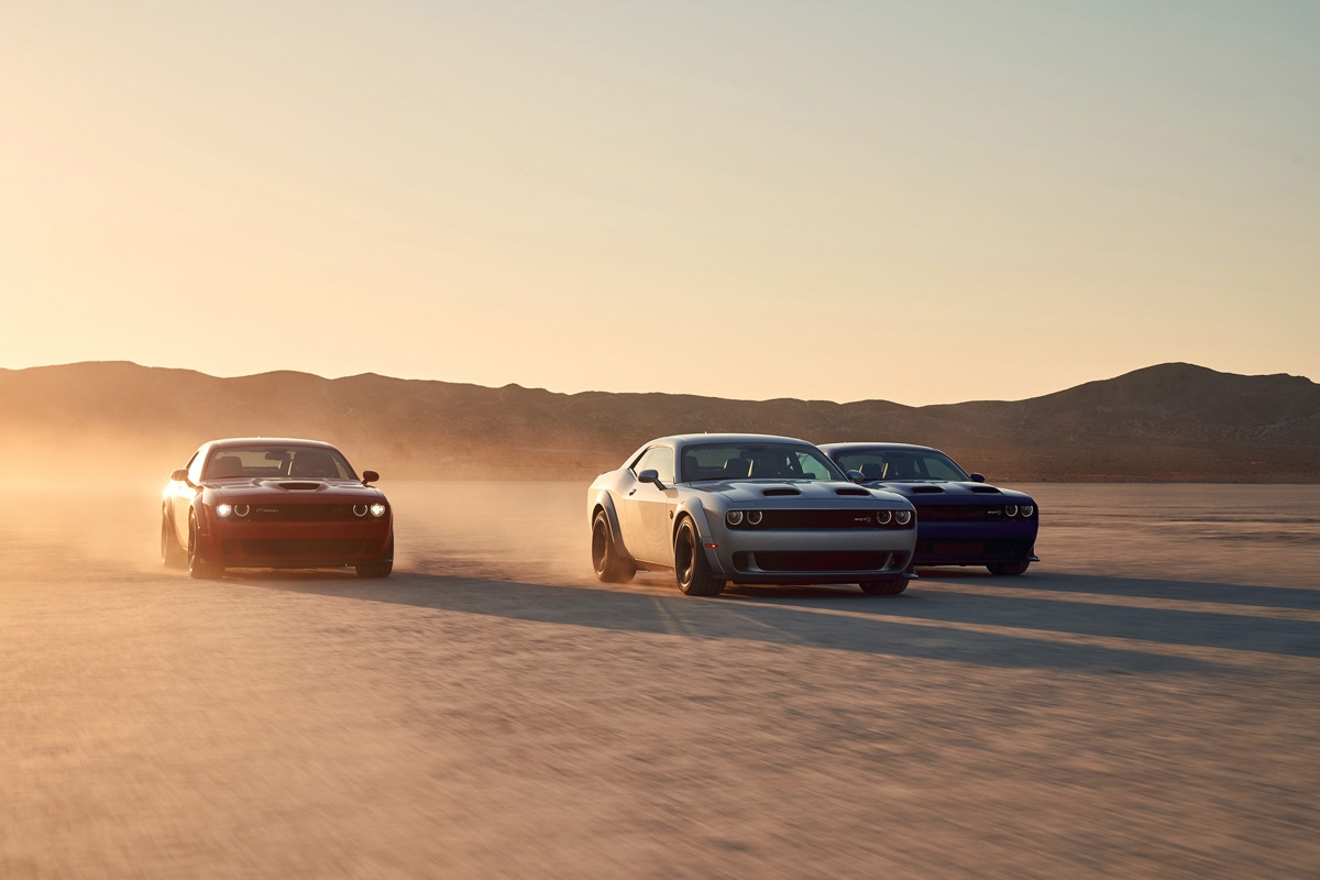 2019 Dodge Challenger R/T Scat Pack Widebody, SRT Hellcat Redeye Widebody, SRT Hellcat Widebody (from left to right)