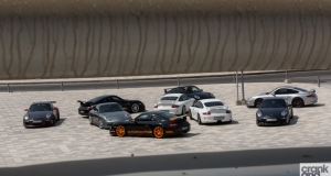 Nine Porsche 911 GT3s. Dubai, UAE